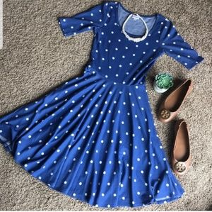 NWT LuLaRoe Nicole Blue & White Polka-Dot Dress